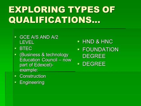 EXPLORING TYPES OF QUALIFICATIONS...  GCE A/S AND A/2 LEVEL  BTEC  (Business & technology Education Council – now part of Edexcel)- example:  Construction.