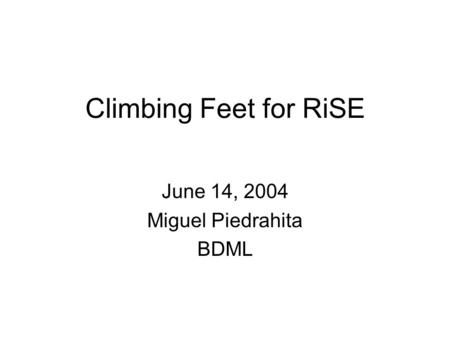 Climbing Feet for RiSE June 14, 2004 Miguel Piedrahita BDML.