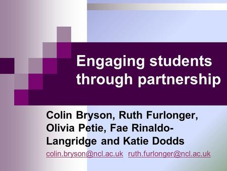 Engaging students through partnership
