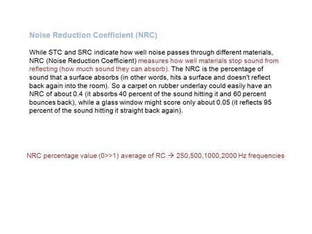 Noise Reduction Coefficient (NRC)