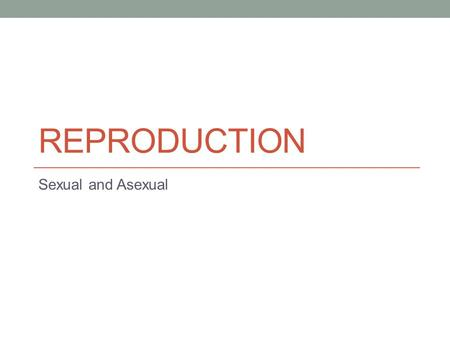 REPRODUCTION Sexual and Asexual. Reproduction Reproduction – the process of living things producing the same type of living thing. Examples – horses produce.