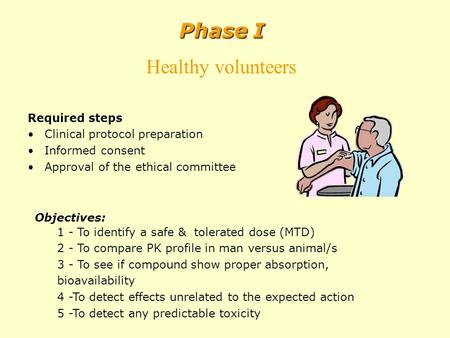 Required steps Clinical protocol preparation Informed consent Approval of the ethical committee Phase I Healthy volunteers Objectives: 1 - To identify.