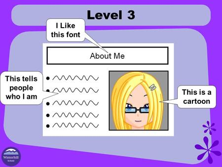 Level 3 This is a cartoon I Like this font This tells people who I am.