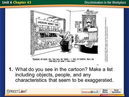 Slide 1 1.What do you see in the cartoon? Make a list including objects, people, and any characteristics that seem to be exaggerated. CARLSON © 2007 Milwaukee.