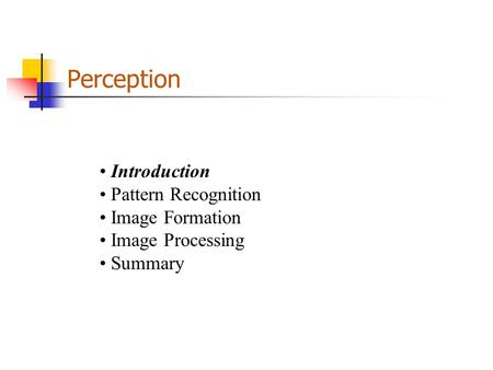 Perception Introduction Pattern Recognition Image Formation