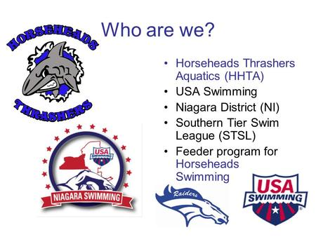 Who are we? Horseheads Thrashers Aquatics (HHTA) USA Swimming Niagara District (NI) Southern Tier Swim League (STSL) Feeder program for Horseheads Swimming.