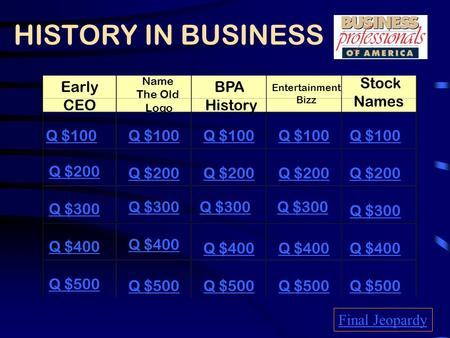 HISTORY IN BUSINESS Early CEO Name The Old Logo BPA History Entertainment Bizz Stock Names Q $100 Q $200 Q $300 Q $400 Q $500 Q $100 Q $200 Q $300 Q $400.