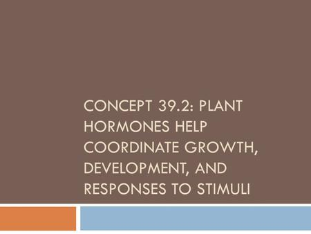 CONCEPT 39.2: PLANT HORMONES HELP COORDINATE GROWTH, DEVELOPMENT, AND RESPONSES TO STIMULI.