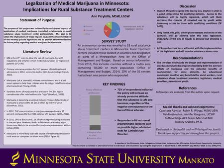 Legalization of Medical Marijuana in Minnesota: Implications for Rural Substance Treatment Centers Ann Przybilla, MSW, LGSW Methodology (48 point) SURVEY.
