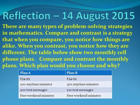 There are many types of problem-solving strategies in mathematics. Compare and contrast is a strategy that when you compare, you notice how things are.
