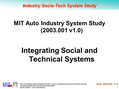 MIT Auto Industry System Study 2003.001 v1.0 Unit1: Integrating Social and Technical System ©Thomas Kochan and Joel Cutcher-Gershenfeld (draft 3/3/2003.