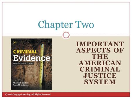 ©2016 Cengage Learning. All Rights Reserved. IMPORTANT ASPECTS OF THE AMERICAN CRIMINAL JUSTICE SYSTEM Chapter Two.