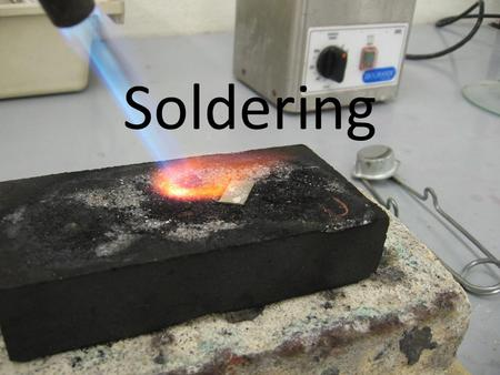 Soldering. Soldering is a way of attaching two pieces of metal by melting a third piece of metal (called solder) to join them. The solder will have a.