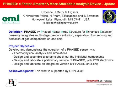 PHASED: a Faster, Smarter & More Affordable Analysis Device - Update U.Bonne, J.Detry, R.Higashi, K.Newstrom-Peitso, H.Pham,