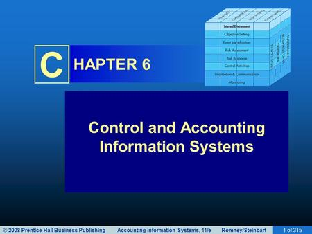 © 2008 Prentice Hall Business Publishing Accounting <strong>Information</strong> Systems, 11/e Romney/Steinbart1 of 315 C HAPTER 6 Control and Accounting <strong>Information</strong> Systems.