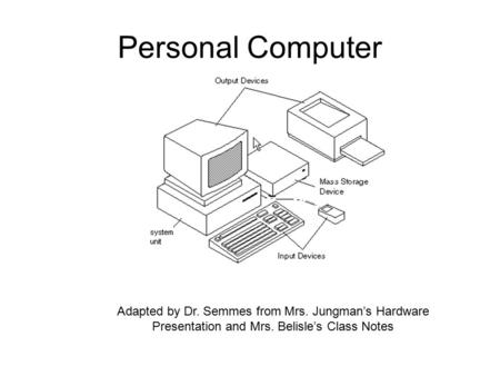 Personal Computer Adapted by Dr. Semmes from Mrs. Jungman's Hardware Presentation and Mrs. Belisle's Class Notes.