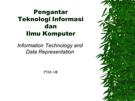 Pengantar Teknologi Informasi dan Ilmu Komputer Information Technology and Data Representation PTIIK- UB.