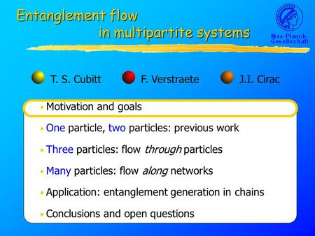 Motivation and goals One particle, two particles: previous work Three particles: flow through particles Many particles: flow along networks Application: