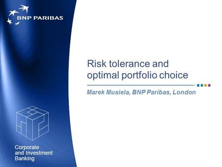 Corporate Banking and Investment Risk tolerance and optimal portfolio choice Marek Musiela, BNP Paribas, London.