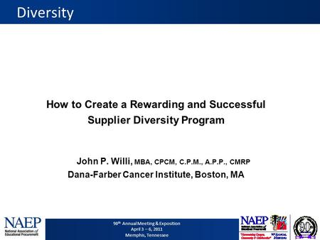 90 th Annual Meeting & Exposition April 3 – 6, 2011 Memphis, Tennessee Diversity How to Create a Rewarding and Successful Supplier Diversity Program John.