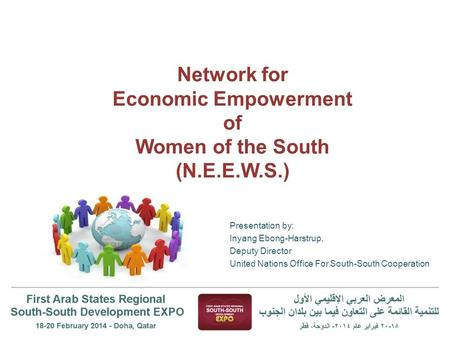 Network for Economic Empowerment of Women of the South (N.E.E.W.S.) Presentation by: Inyang Ebong-Harstrup, Deputy Director United Nations Office For South-South.