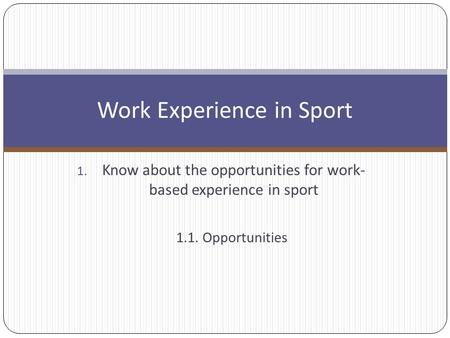 the opportunities for work based experience in Work-based learning (wbl) provides students with a continuum of career related   a solid work experience program will provide the student with the following:   a structured experience with links to classroom instruction the opportunity to.
