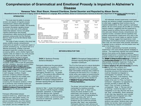Comprehension of Grammatical and Emotional Prosody is Impaired in Alzheimer's Disease Vanessa Taler, Shari Baum, Howard Chertkow, Daniel Saumier and Reported.