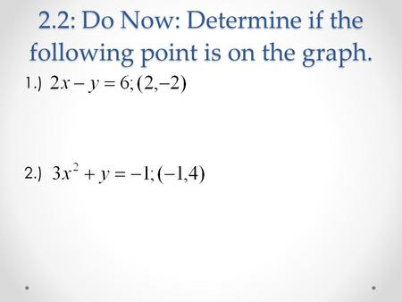 2.2: Do Now: Determine if the following point is on the graph. 1.) 2.)