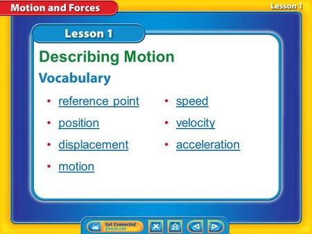 Lesson 1 Reading Guide - Vocab reference point position displacement motion speed velocity acceleration Describing Motion.
