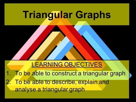 Triangular Graphs LEARNING OBJECTIVES 1.To be able to construct a triangular graph 2.To be able to describe, explain and analyse a triangular graph.