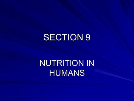 SECTION 9 NUTRITION IN HUMANS. Introduction Humans and other mammals are adapted for feeding and digestion. We use the essential molecules from food to.