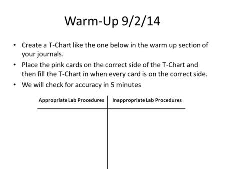 Warm-Up 9/2/14 Create a T-Chart like the one below in the warm up section of your journals. Place the pink cards on the correct side of the T-Chart and.