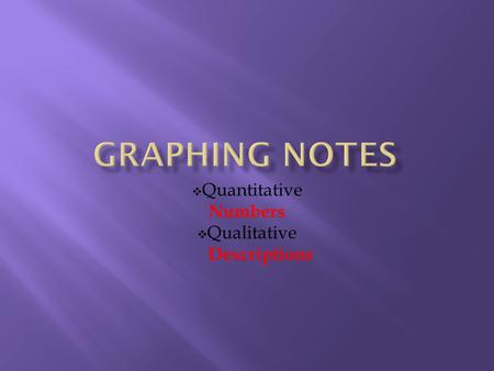  Quantitative Numbers  Qualitative Descriptions.