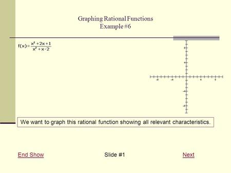 Graphing Rational Functions Example #6 End ShowEnd Show Slide #1 NextNext We want to graph this rational function showing all relevant characteristics.