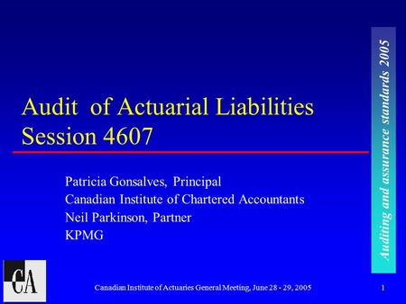 Auditing and assurance standards 2005 Canadian Institute of Actuaries General Meeting, June 28 - 29, 20051 Audit of Actuarial Liabilities Session 4607.