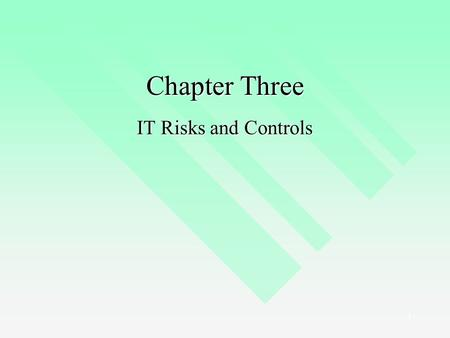 1 Chapter Three IT Risks and Controls. 2 The Risk Management Process Identify IT Risks Assess IT Risks Identify IT Controls Document IT Controls Monitor.
