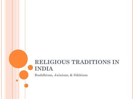 RELIGIOUS TRADITIONS IN INDIA Buddhism, Jainism, & Sikhism.
