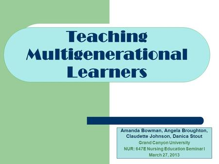 Teaching Multigenerational Learners