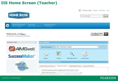 IIS Home Screen (Teacher) Copyright © 2011 Pearson Education, Inc. or its affiliates. All rights reserved.1.