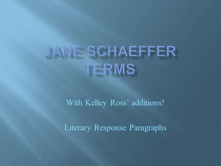 With Kelley Ross' additions! Literary Response Paragraphs.