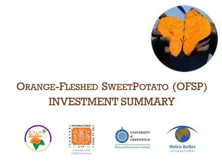 O RANGE -F LESHED S WEET P OTATO (OFSP) INVESTMENT SUMMARY.