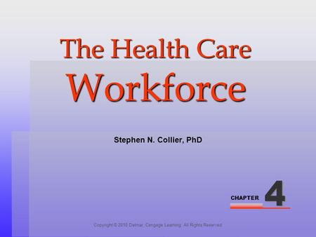CHAPTER The Health Care Workforce Copyright © 2010 Delmar, Cengage Learning. All Rights Reserved. Stephen N. Collier, PhD.