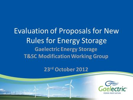 Evaluation of Proposals for New Rules for Energy Storage Gaelectric Energy Storage T&SC Modification Working Group 23 rd October 2012.