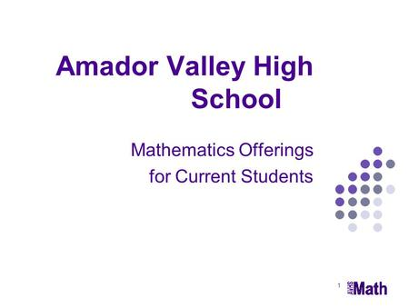 1 Amador Valley High School Mathematics Offerings for Current Students.