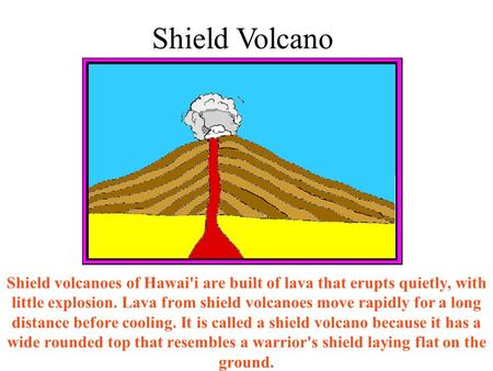 Shield volcanoes of Hawai'i are built of lava that erupts quietly, with little explosion. Lava from shield volcanoes move rapidly for a long distance before.