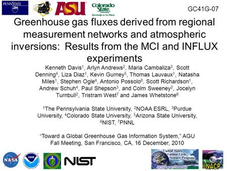 Greenhouse gas fluxes derived from regional measurement networks and atmospheric inversions: Results from the MCI and INFLUX experiments Kenneth Davis.