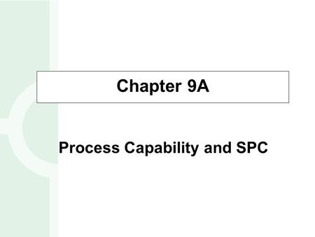 Chapter 9A Process Capability and SPC. Process Variation Process Capability Process Control Procedures – Variable data – Attribute data OBJECTIVES 9A-2.