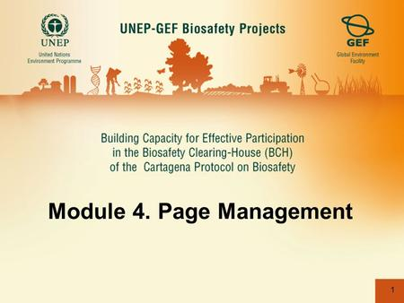 "1 Module 4. Page Management. 2 4.2 Creating New Pages Child pages can be created by clicking on the New Page"" button. CLICK HERE."