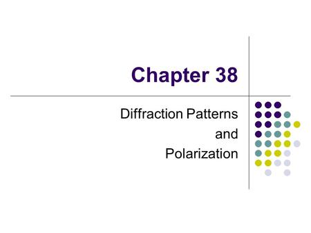 Chapter 38 Diffraction Patterns and Polarization.