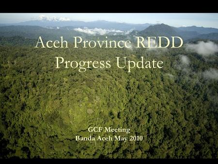Aceh Province REDD Progress Update GCF Meeting Banda Aceh May 2010.
